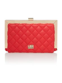 Red cross body clutch bag