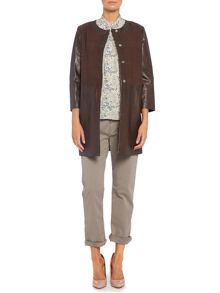 Magda long leather jacket