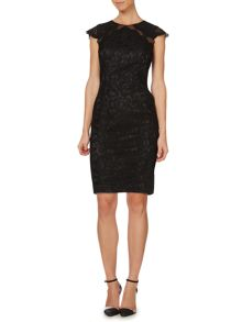 JS Collections Cap sleeve all over lace dress