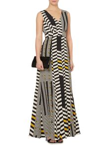 Geometric printed v front woven maxi dress