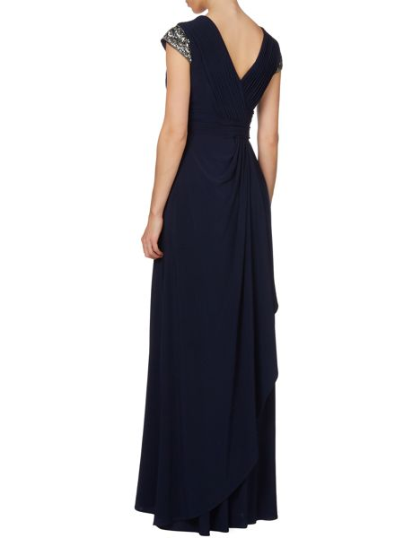 JS Collections Sequin cap sleeve gown