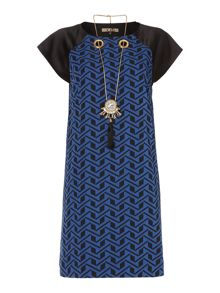 geometric print detachable necklace dress
