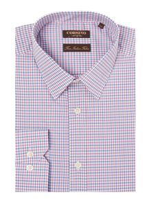 Corsivo Zetico two colour check cotton shirt