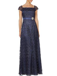 All over metalic lace with brooch gown
