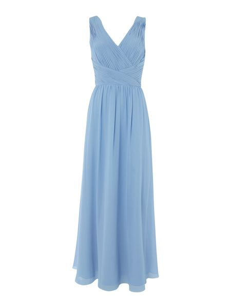 JS Collections V neck pleated body gown