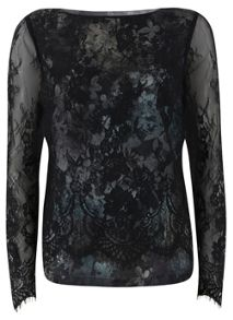 Ami Print Layered Lace Top
