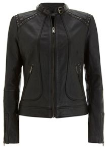 Black Studded Leather Biker Jacket