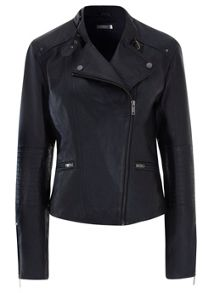 Ink Stitch Leather Biker Jacket