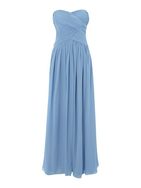 JS Collections Strapless pleated body gown