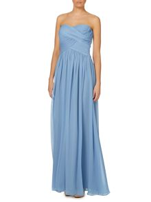 Strapless pleated body gown