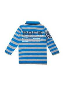 Boys stripe rugby shirt with arm badge