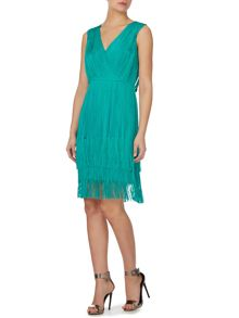 Fringed tie detail dress