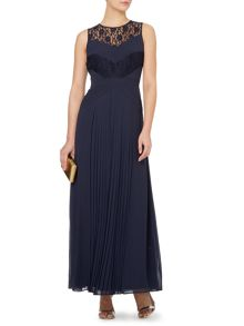 Lace and pleated maxi dress