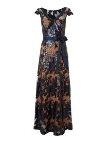 Sleeveless neck tie waist sequin gown