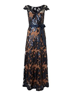 JS Collections Sleeveless neck tie waist sequin gown