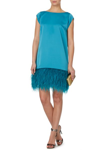 Biba Gold limited edition real feather detail dress