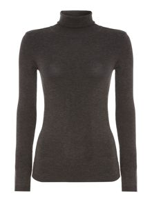 Long sleeve plain polo neck knit sweater