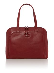 Pippin red large leather tote bag
