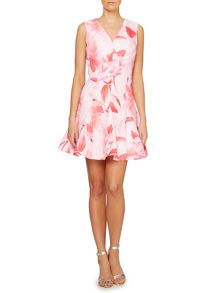 Untold V neck fit and flare rose print dress