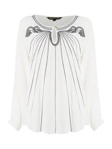 Embroidered deco keyhole loose blouse