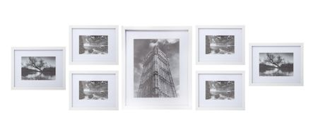 Linea White Wooden effect 7 Piece Gallery Frame Set