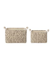Linea Script Storage Baskets (Set of 2)