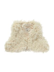 Girls faux fur gilet with button