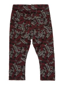 Girls feather print heavyweight leggings