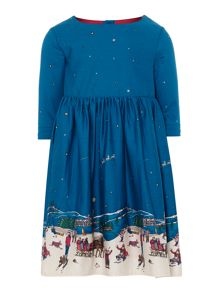 Girls long sleeve christmas border dress