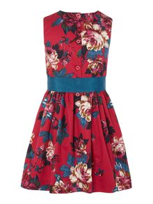 Girls sleeveless floral bow dress
