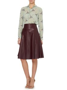 Faux leather pocket detail full skirt