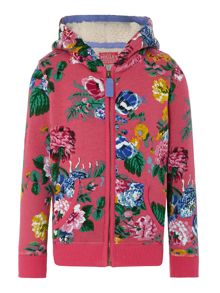 Girl`s zip floral sweat hoody