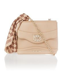 Neutral small scarf cross body bag