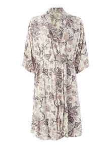 Paisley floral woven viscose jersey robe