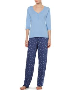 Spiral spot mixed fabric pj set