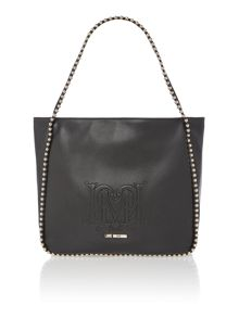 Black large studded shoulder bag