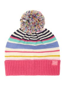 Girls stripped knitted hat with bobble