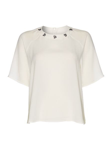 Pied a Terre Embellished neck detail top