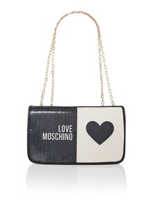 Black and white exclusive sequin shoulder bag