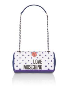 Blue medium charm flapover shoulder bag