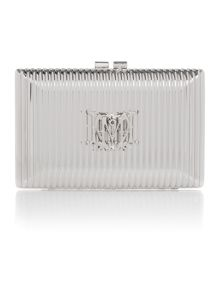 Silver small evening clutch bag