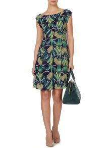 Biba Tuck detail printed fit and flare dress
