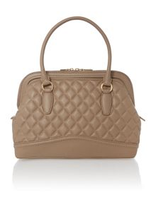 Taupe large quilt dome bag