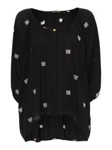 Biba Embroidered logo volume blouse