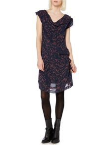 Alma print side tie dress
