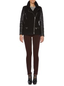 Oui Quilted textured biker jacket