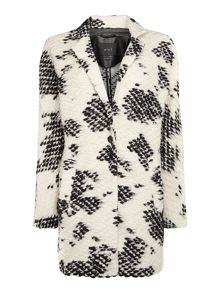 Textured wool monochrome oversized coat