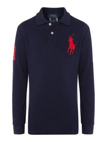 Boys long sleeved polo shirt with big pony