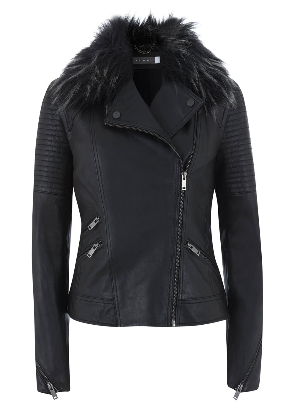 Black Fur Collar Aviator Jacket