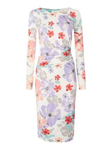 Linea Floral gathered jersey dress